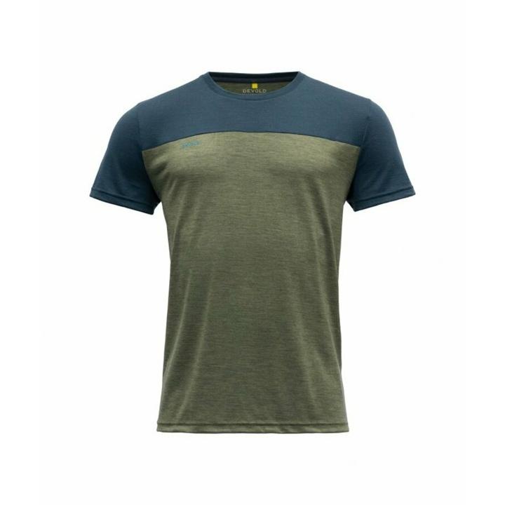 Koszulka wełniana męska z krótkim rękawem Devold Norang GO 180 213 B 404A zielona