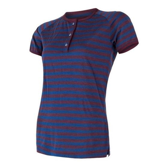 Damskie koszulka Sensor MERINO AIR PT krótki rękaw z guziki niebieski/bordowy pasy 18200014