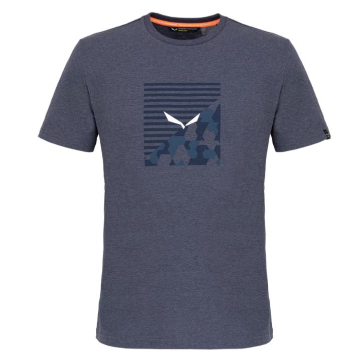 Koszulka męska Salewa Drukowane pudełko Wytrawny melanż granatowy premium 28259-3986
