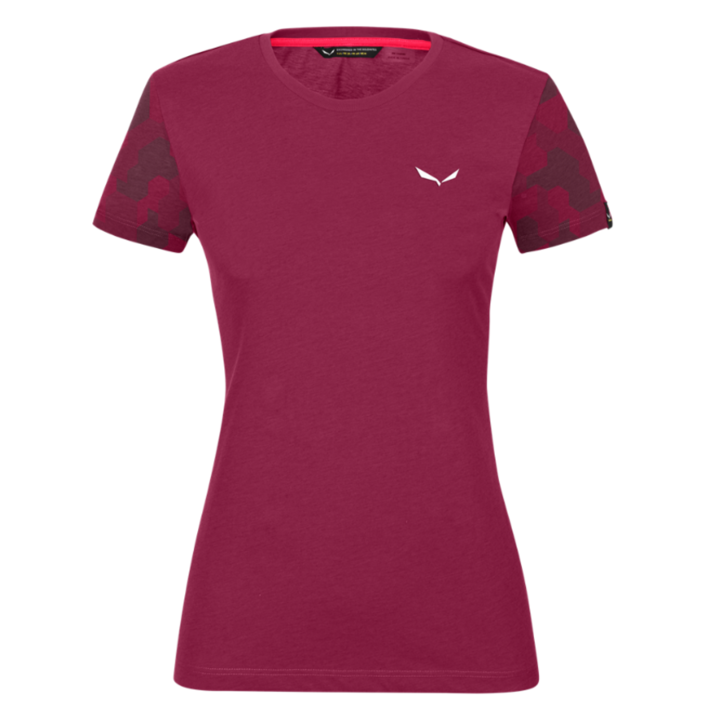 Koszulka damska Salewa Suchy rękaw kamuflażowy czerwony rodo melanż 28260-6368