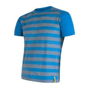 Męskie koszulka Sensor Merino Wool Active niebieska pasy 16200088