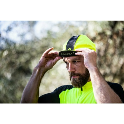 Rowerowa czapka z daszkiem pod kask Rogelli RETRO, odbijająco żółto-czarny 009.967, Rogelli