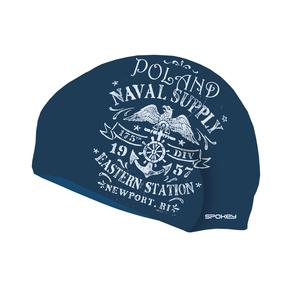 Pływacka czapka Spokey STYLO niebieska białe napisy, Spokey