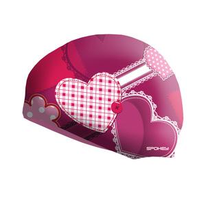 Dziecięca pływacka czapka Spokey STYLO Junior różowa serce, Spokey