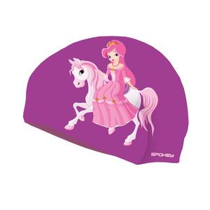 Dziecięca pływacka czapka Spokey STYLO Junior fioletowy księżniczka, Spokey