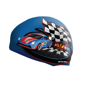 Dziecięca pływacka czapka Spokey STYLO Junior niebieska wyścigowa samochód, Spokey