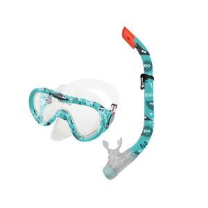 Zestaw + fajka okulary TAHITI JUNIOR zielony wodna świat, Spokey