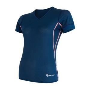 Damskie koszulka Sensor Coolmax Fresh Air V-neck ciemno niebieskie 17100023, Sensor