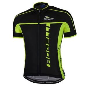 Bardzo lekkie rowerowy bluza Rogelli UMBRIA 2.0 z krótkim rękawem, czarno-odblaskowa żółty 001.247., Rogelli