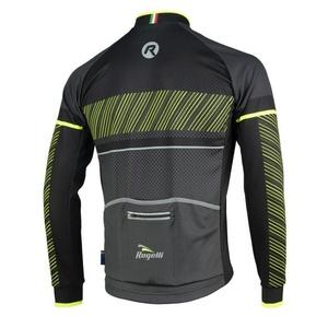 koszulka rowerowa Rogelli RITMO z długim rękawem, 001.255. czarno-odblaskowa żółty, Rogelli