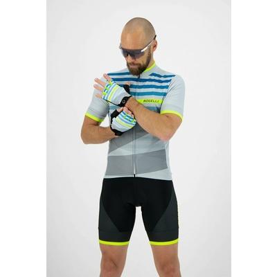 Rekawice rowerowe Rogelli STRIPE, szaro-turkusowy odblaskowy żółte 006.311, Rogelli