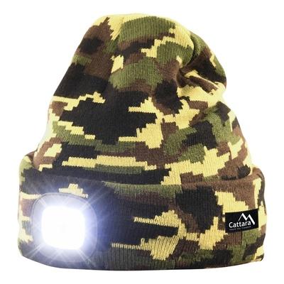 czapka ARMY z LED lampką Cattara USB ładowanie