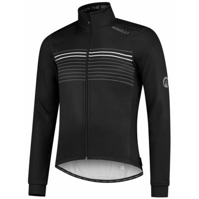 Softshellowa kurtka rowerowa Rogelli KALON z oddychająca rękawy i z powrotem pracować, czarno-biały 003.150