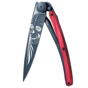 Kieszonkowy nóż Deejo 1GB143 Black tatuaż 37g, biker, red buk, Latino skull, Deejo