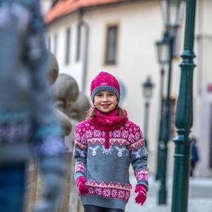 Dziecięcy dziany Merino szalik-komin SB12 114