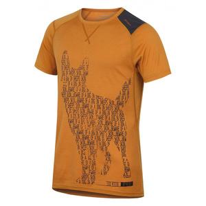 Męskie merynos koszulka Husky Dog brązowo-pomarańczowe, Husky