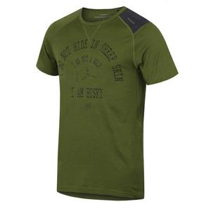 Męskie merynos koszulka Husky Wolf khaki, Husky