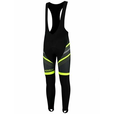 Powerno grzejące rowerowe spodnie Rogelli TEAM 2.0 z żelową podszewka, czarno-odblaskowa żółte 002.970
