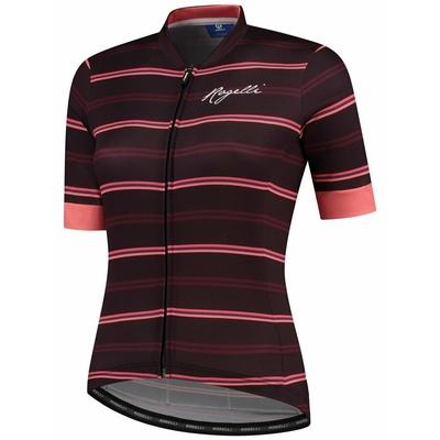 Damski rowerowy bluza Rogelli STRIPE z krótkim rękawem, bordowo-koralowy 010.149, Rogelli