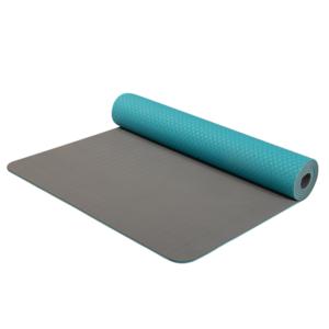 Podkładka do jogę Yoga Mat dwuwarstwowa materiał TPE turkusowy / szary, Yate
