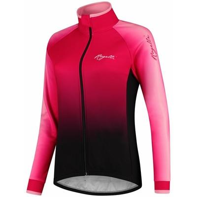Kolarstwo kobiet bluza Rogelli Glow długi rękaw różowo-czarny ŚWIECI, Rogelli