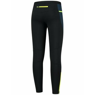 Męskie ocieplane do biegania spodnie czarno-ciemnoniebieski-żółty odblaskowy ROG351101, Rogelli