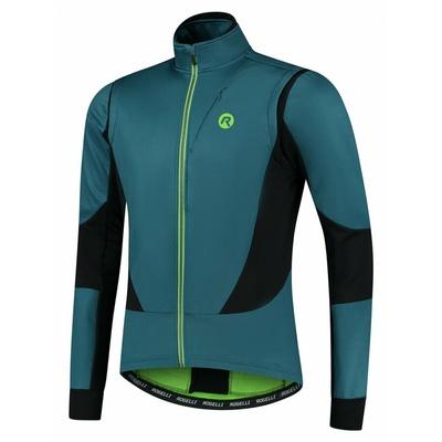 Softshell męski kurtka rowerowa Rogelli Brave z oddychającym panele, niebiesko-czarno-zielony ROG351026, Rogelli