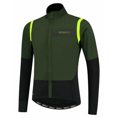 Męska ultralekka kurtka rowerowa Rogelli Nieskończona bez izolacji khaki-czarny-odblaskowy żółty ROG351048, Rogelli