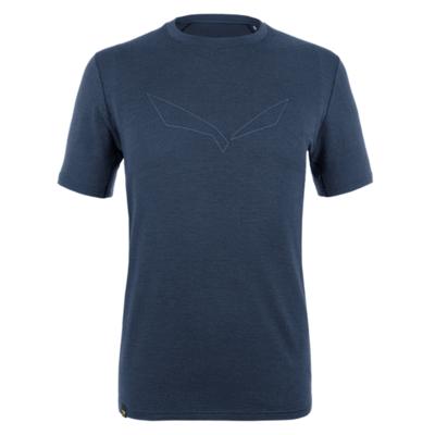 Koszulka męska Salewa Czysty logo merynos czuły granatowa marynarka 28264-3960