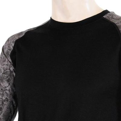 Męskie koszulka Sensor Merino Imponować czarny / czaszki, Sensor