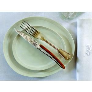 Deejo zestaw 6  nożów, błyszczący powierzchnia, oliwkowe drewno, design 'Toile de Jouy' 2AB011, Deejo