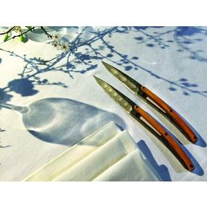 Deejo zestaw 6 stekowych nożów, tytanowy powierzchnia ostrze, oliwkowe drewno, design 'Art Déco' 2FB012, Deejo
