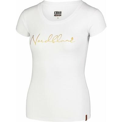 Damski bawełniany t-shirt NORDBLANC Kaligrafia biała NBSLT7400_BLA, Nordblanc