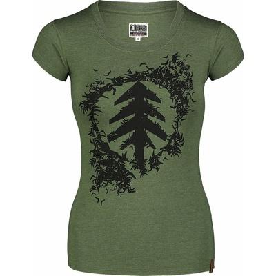 Damski bawełniany t-shirt NORDBLANC Flock zielony NBSLT7401_ZSA