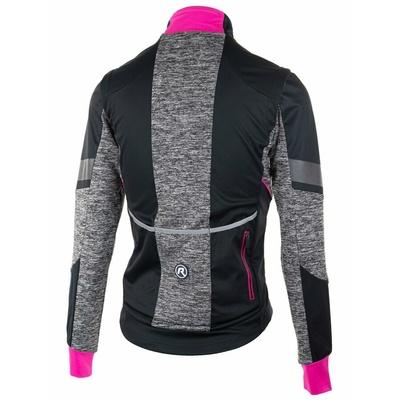 Damska softshellowa kurtka rowerowa Rogelli BŁOGOŚĆ z oddychająca z powrotem pracować, czarny/szary odblaskowy różowa 010.310, Rogelli