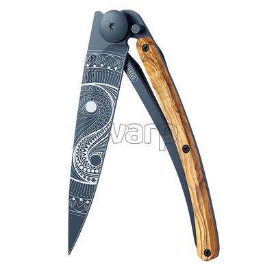 Nóż kieszonkowy Deejo 1GB149 Czarny tatuaż 37g, drewno oliwne Yin & Yang