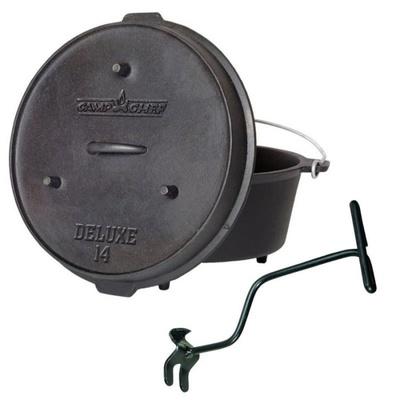 Universalny żeliwna garnek Camp Chef Deluxe Dutch Oven 35 cm z pokrywką i selfcek., Camp Chef