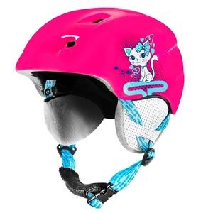 Dziecięca narciarska kask Spokey AURORA różowa z kotem, Spokey