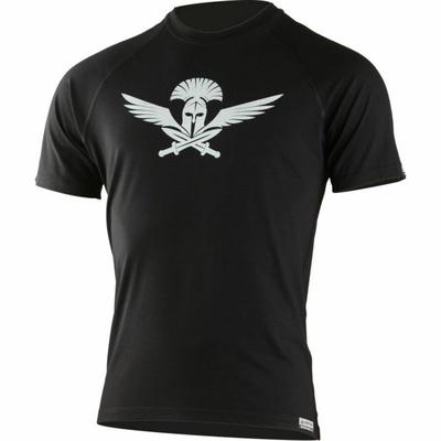 Męski merynos koszulka Lasting z nadrukiem Warrior Black, Lasting