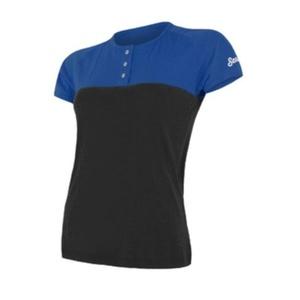Damskie koszulka Sensor MERINO AIR PT krótki rękaw z guziki niebieski / czarny 18100010, Sensor