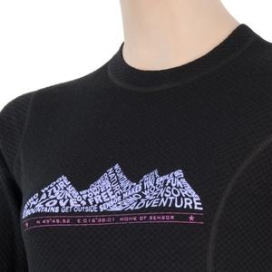Damskie koszulka Sensor MERINO DOUBLE FACE ADVENTURE  czarne 17200036, Sensor