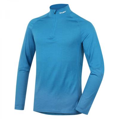 Męskie termo koszulka dl. tuleja z zamkiem błyskawicznym Husky Merino niebieski, Husky